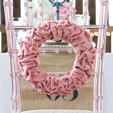 Large Ruffled Burlap Wreath in Vintage Pink