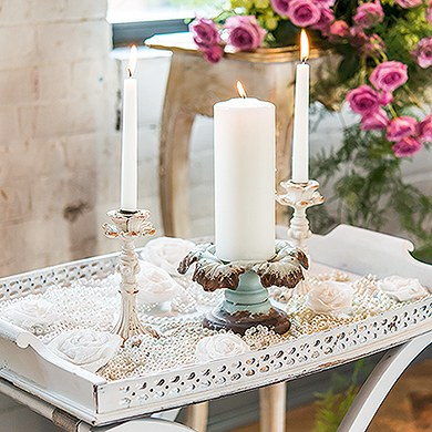Vintage Inspired Iron Pillar Candle Holder
