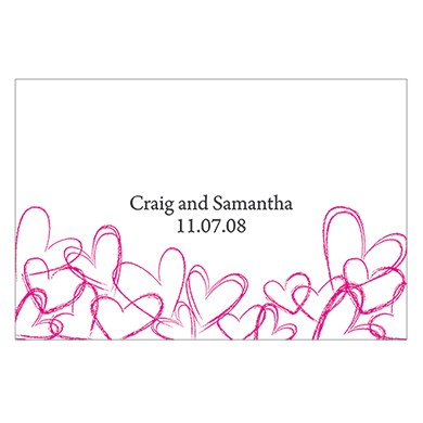Contemporary Hearts Large Rectangular Wedding Favor Tag and Place Card