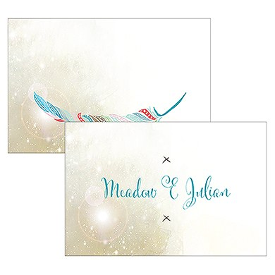 Feather Whimsy Names Large Rectangular Card