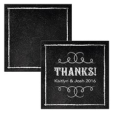 Square Favor Tag with Chalkboard Print Design