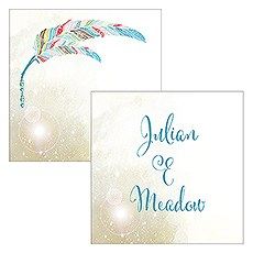 Feather Whimsy Names Square Favor Tag