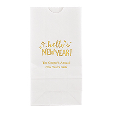 Hello New Year! Block Bottom Gusset Paper Goodie Bags