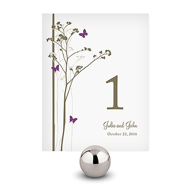 Romantic Butterfly Wedding Reception Table Number