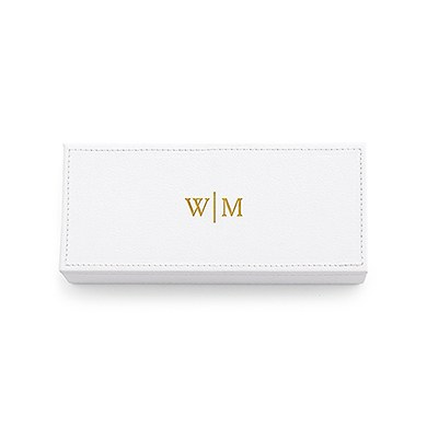 Vegan Leather Jewelry Box Line Monogram Emboss