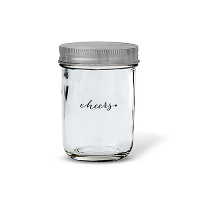 Glass Mason Jar with Silver Solid Lid   Printed