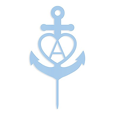 Love Anchor Acrylic Cake Topper - Pastel Blue