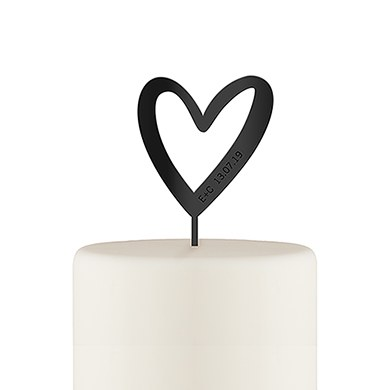 Personalized Mod Heart Acrylic Cake Topper - Black