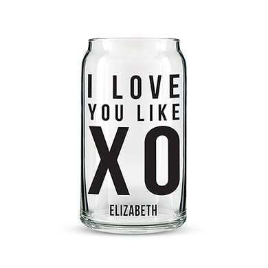 Can Shaped Glass Personalized - I Love You Like XO Printing
