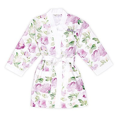 Lavender Watercolor Floral Silky Kimono Robe On White - Relaxed Fit