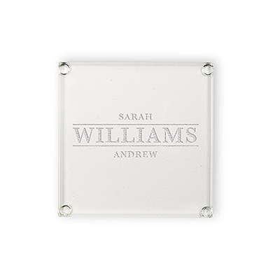 Custom Square Glass Coaster - Serif Font