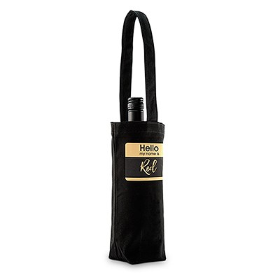 Hello My Name Is Personalized Black Canvas Wine Tote Bag