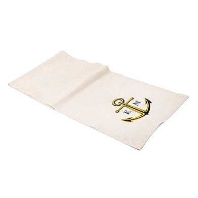 Personalized Off White Linen Table Runner - Anchor with Monogram