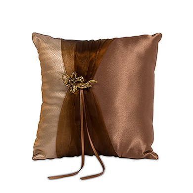 Bronze Elegance Square Wedding Ceremony Ring Pillow
