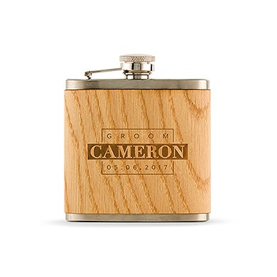Personalized Groom Oak Wrapped Flask