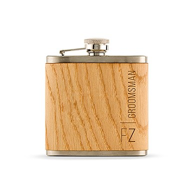 Groomsmen Wood Wrapped Hip Flask - Vertical Text Etching