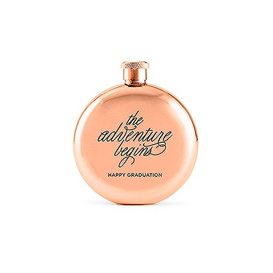 Polished Rose Gold Hip Flask - The Adventure Begins Etching