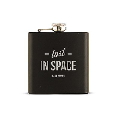 Black Coated Hip Flask - Lost in Space Etching