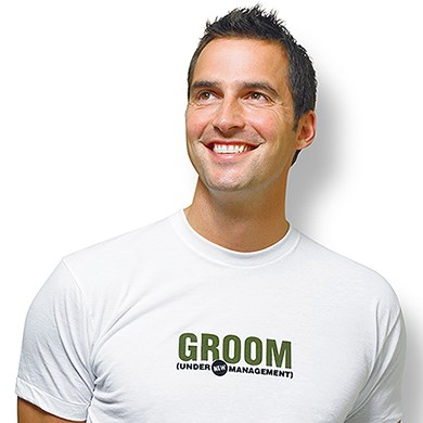 GROOM under new management Wedding Iron on Accessory