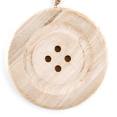 Charming Wooden Button Decoratoin with Natural Finish - Large