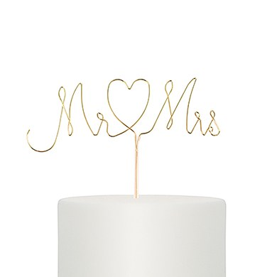 Mr And Mrs Twisted Gold Wire Cake Topper