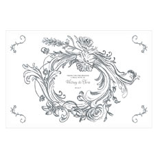 Antique Chic Personalized Paper Place Mat - Floral Frame