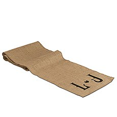 Burlap Table Runner With Vineyard Monogram