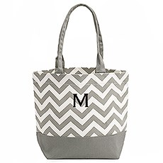 Chevron Canvas Tote - Gray