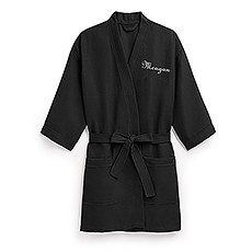 Women's Personalized Embroidered Waffle Spa Robe - Black
