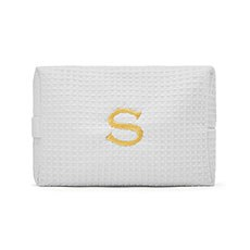 Large Cotton Waffle Cosmetic Bag - White