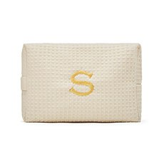 Large Cotton Waffle Cosmetic Bag - Ivory