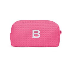 Small Cotton Waffle Cosmetic Bag - Hot Pink