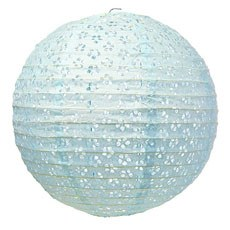 Large Eyelet Paper Lantern - Light Blue