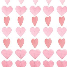 Mini Paper Heart Banner - Light Pink