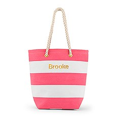 Bliss Striped Tote - Pink and White