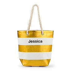 Bliss Striped Tote - Metallic Gold and White
