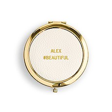 Faux Leather Compact Mirror - Name and # Emboss