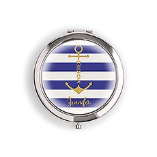 Designer Compact Mirror - Anchor on Stripes Print