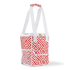 On-The-Go Cooler Bag - Pink & White Greek Key