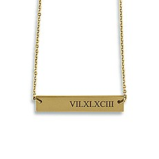 Horizontal Rectangle Tag Necklace - Roman Numerals