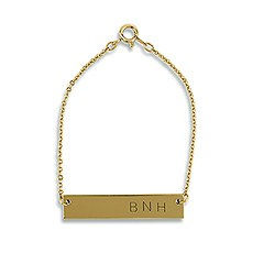 Horizontal Rectangle Tag Bracelet - Matte Gold