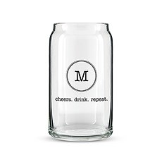 Can Shaped Glass Personalized - Typewriter Monogram Printing