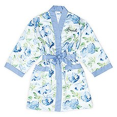 Blue Watercolor Floral Silky Kimono Robe on Blue