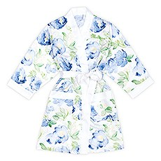 Blue Watercolor Floral Silky Kimono Robe on White