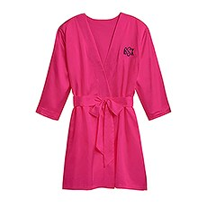 Women's Personalized Embroidered Satin Robe with Pockets - Fuchsia Pink