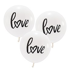 "17"" Large White Round Wedding Balloons - ""Love"""