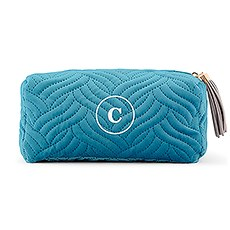Small Personalized Velvet Quilted Makeup Bag for Women- Light Blue