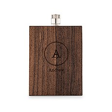 Personalized Rustic Wood Wrapped Stainless Steel Hip Flask – Circle Monogram Print