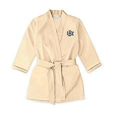 Personalized Flower Girl Satin Robe With Pockets - Gold