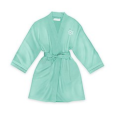 Personalized Junior Bridesmaid Satin Robe with Pockets - Mint Green